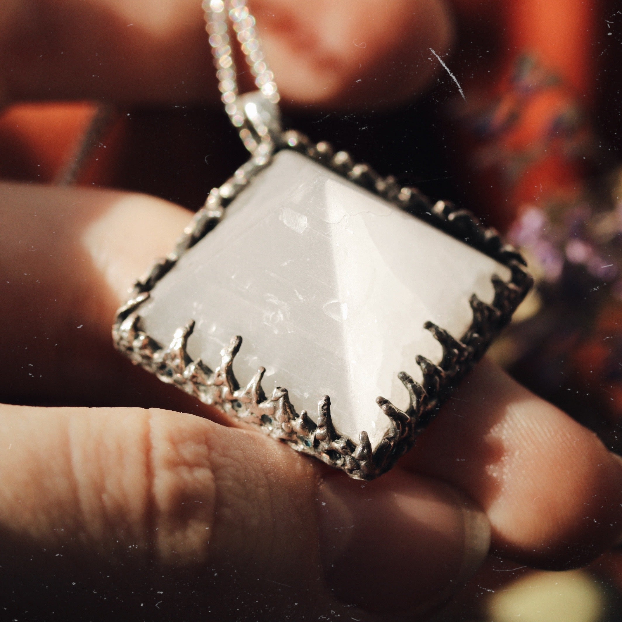 Freyr Selenite Icicle Crystal Pyramid Necklace #19