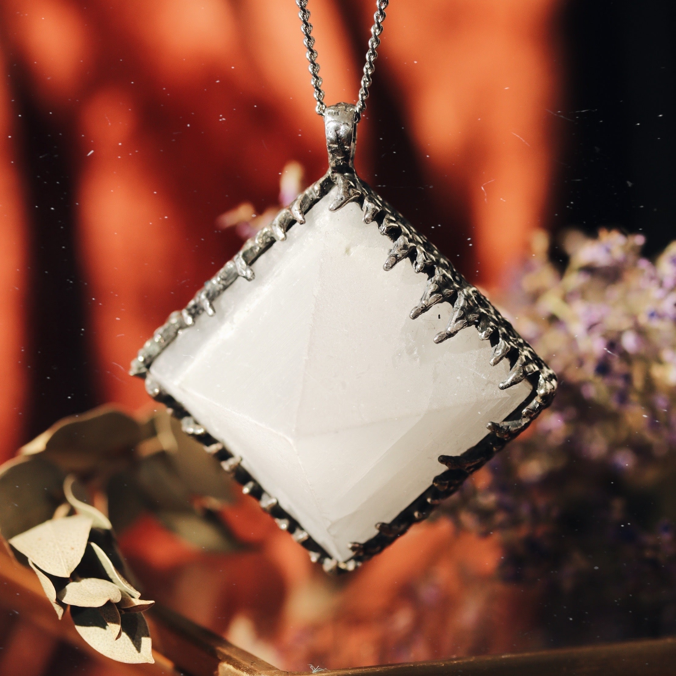 Freyr Selenite Icicle Crystal Pyramid Necklace #20
