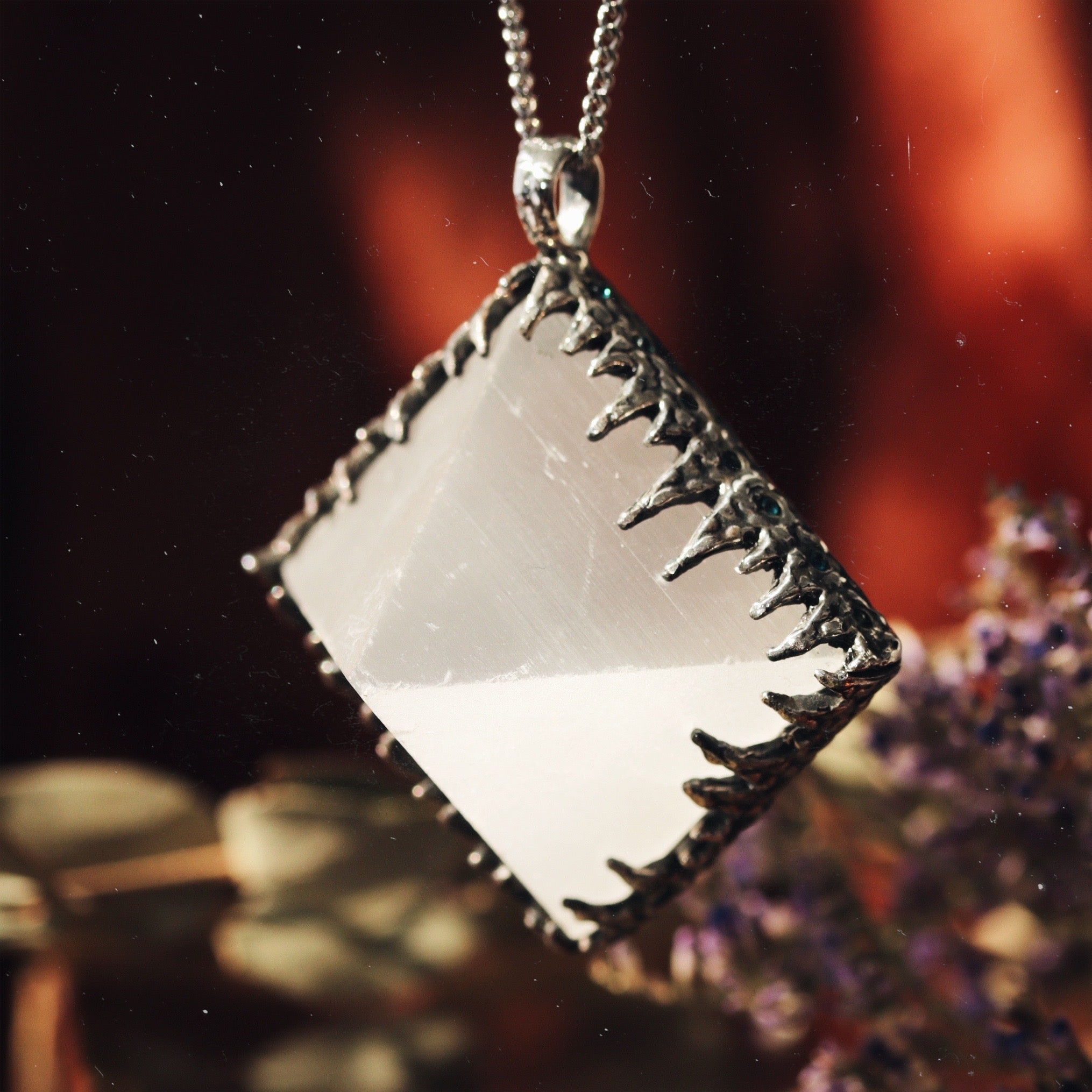 Freyr Selenite Icicle Crystal Pyramid Necklace #21