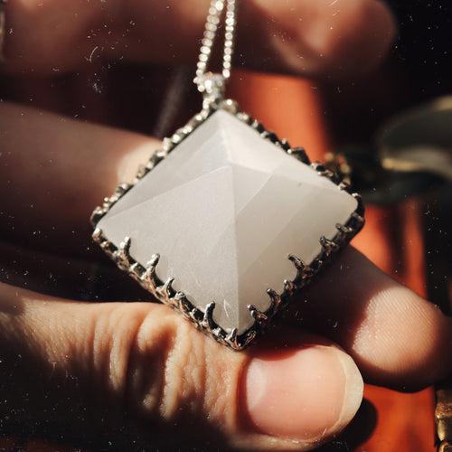 Freyr Selenite Icicle Crystal Pyramid Necklace #22