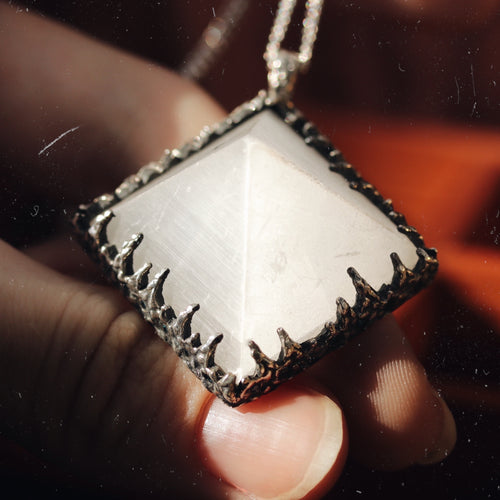 Freyr Selenite Icicle Crystal Pyramid Necklace #23