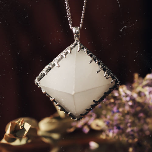 Freyr Selenite Icicle Crystal Pyramid Necklace #24