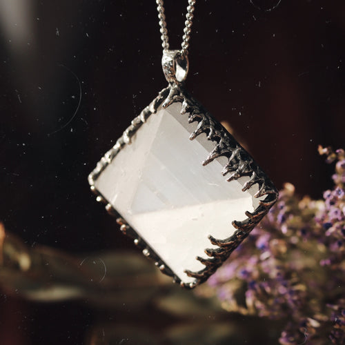 Freyr Selenite Icicle Crystal Pyramid Necklace #25