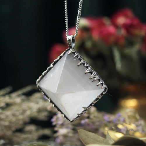Freyr Selenite Crystal Pyramid Necklace #05 *Special Second