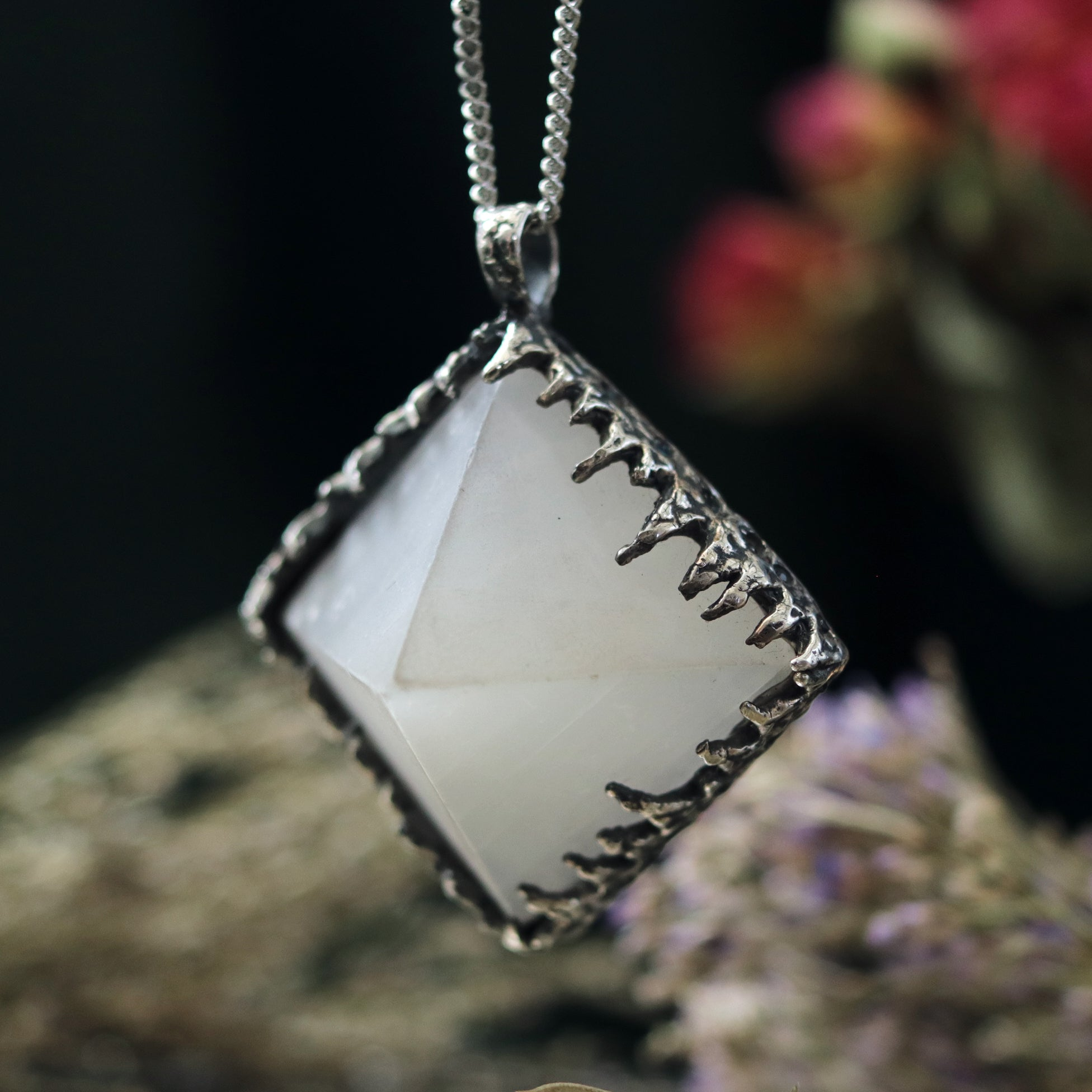 Freyr Selenite Crystal Pyramid Necklace #10 *Special Second