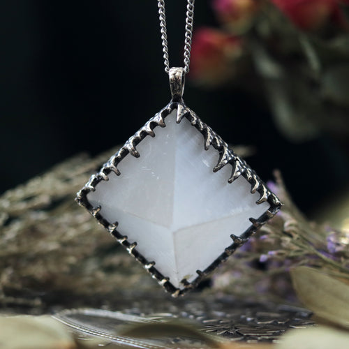 Freyr Selenite Crystal Pyramid Necklace #15 *Special Second
