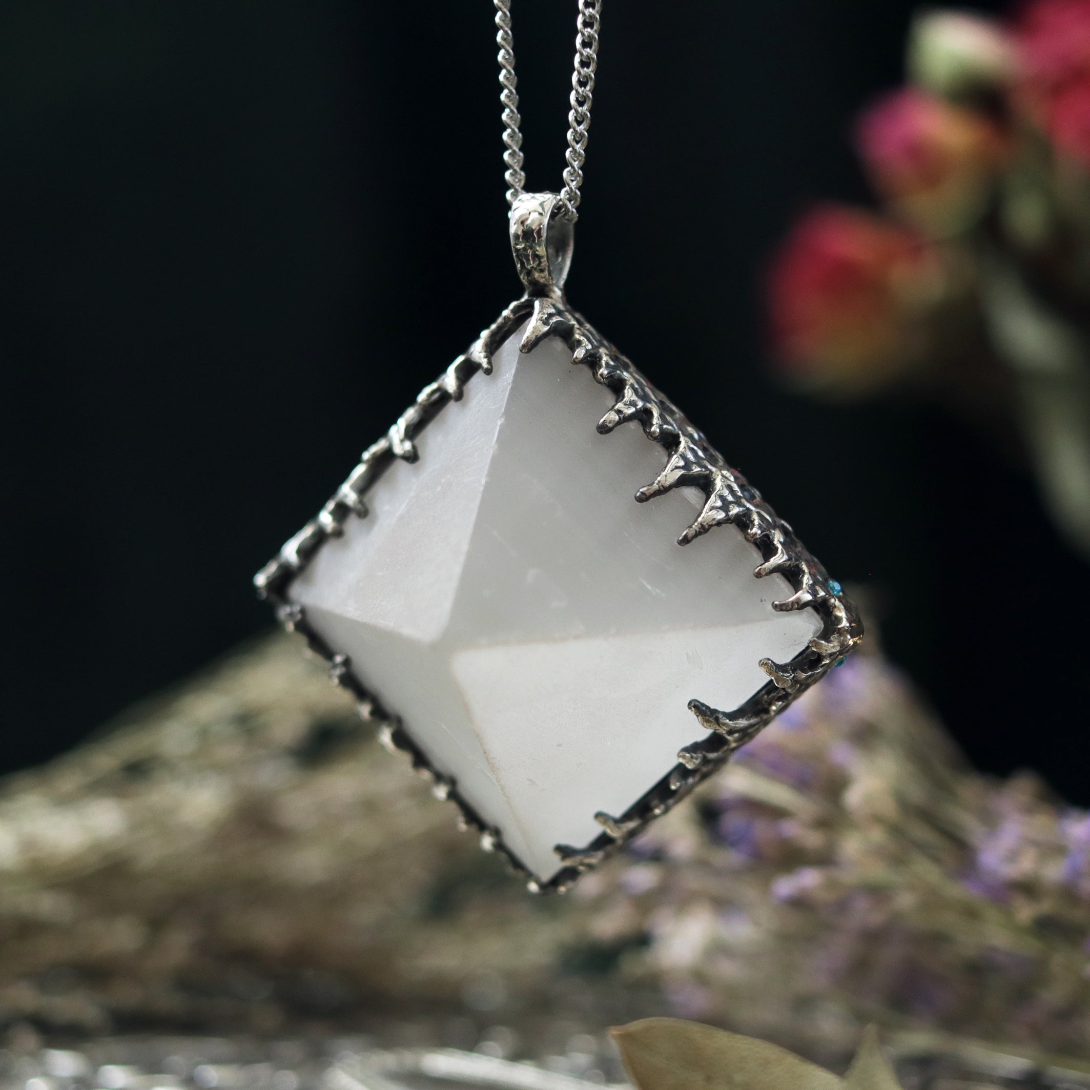 Freyr Selenite Crystal Pyramid Necklace #04 *Special Second