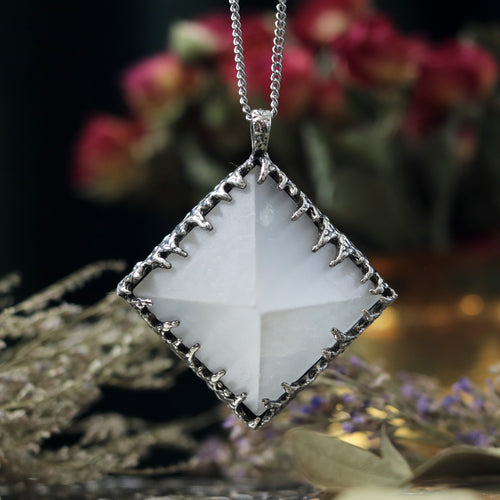Freyr Selenite Crystal Pyramid Necklace #14 *Special Second