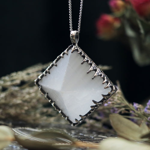 Freyr Selenite Crystal Pyramid Necklace #16 *Special Second