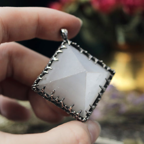 Freyr Selenite Crystal Pyramid Necklace #11 *Special Second
