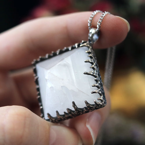 Freyr Selenite Crystal Pyramid Necklace #17 *Special Second