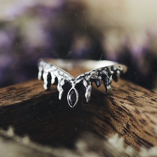 Before the Dawn Icicle Wishbone Sterling Silver Ring Black