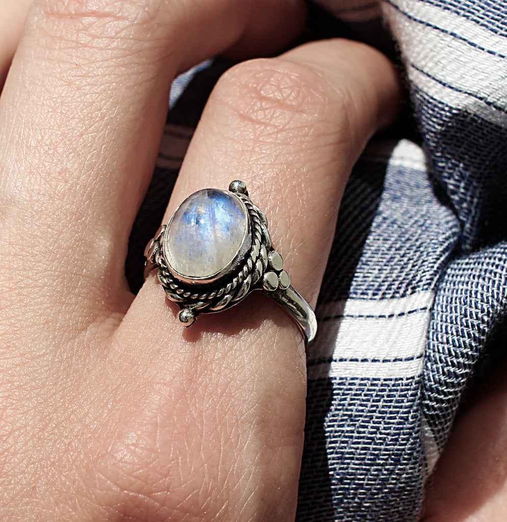 LOW IN STOCK | Sahara Sunrise Rainbow Moonstone Ring