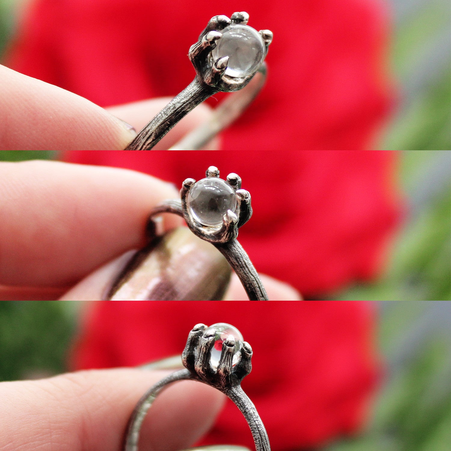 Creature Of The Forest Crystal Ball Gothic Claw Ring