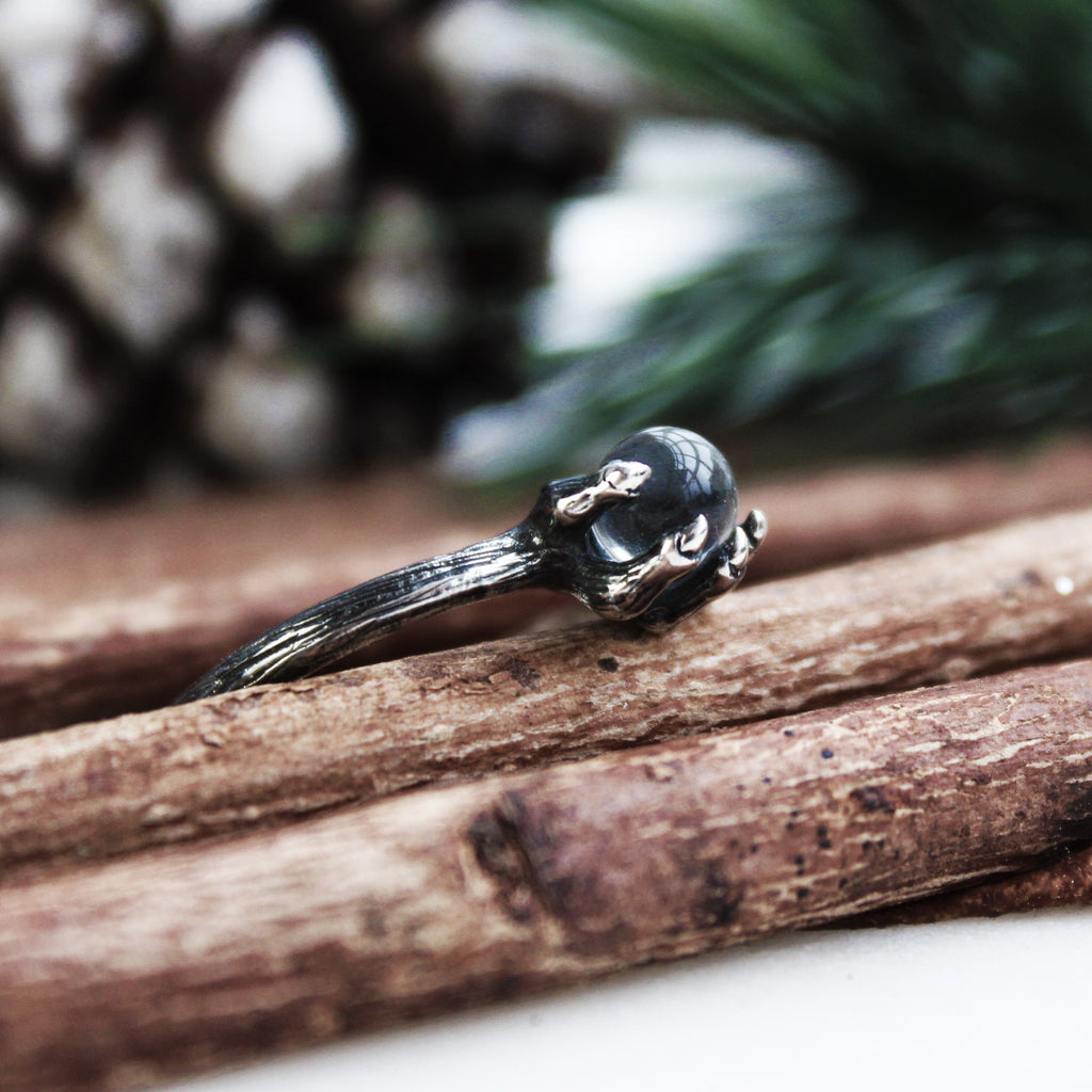 Nihilist Black Pearl & Moonstone Ring