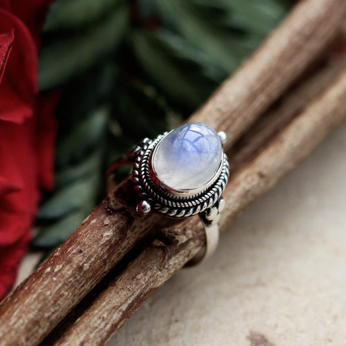 Little Luna Rainbow Moonstone Sterling Silver Boho Ring