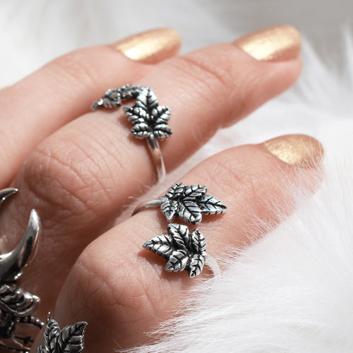 Sylvestris Deus Boho Ivy Leaf Wrap Ring