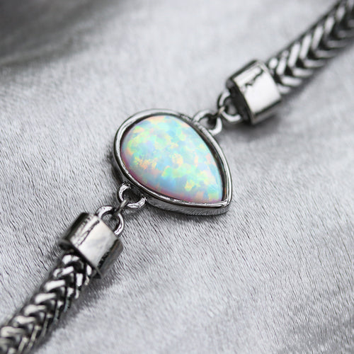 Black Snow Ice Opal Boho Choker Gunmetal