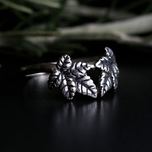 Sylvestris Deus Ivy Leaf Boho Wishbone Ring