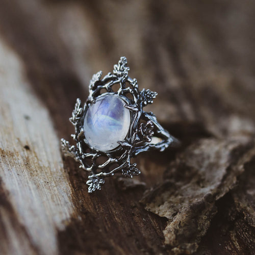 LOW IN STOCK The Forest Moonlight Moonstone Boho Branch Ring