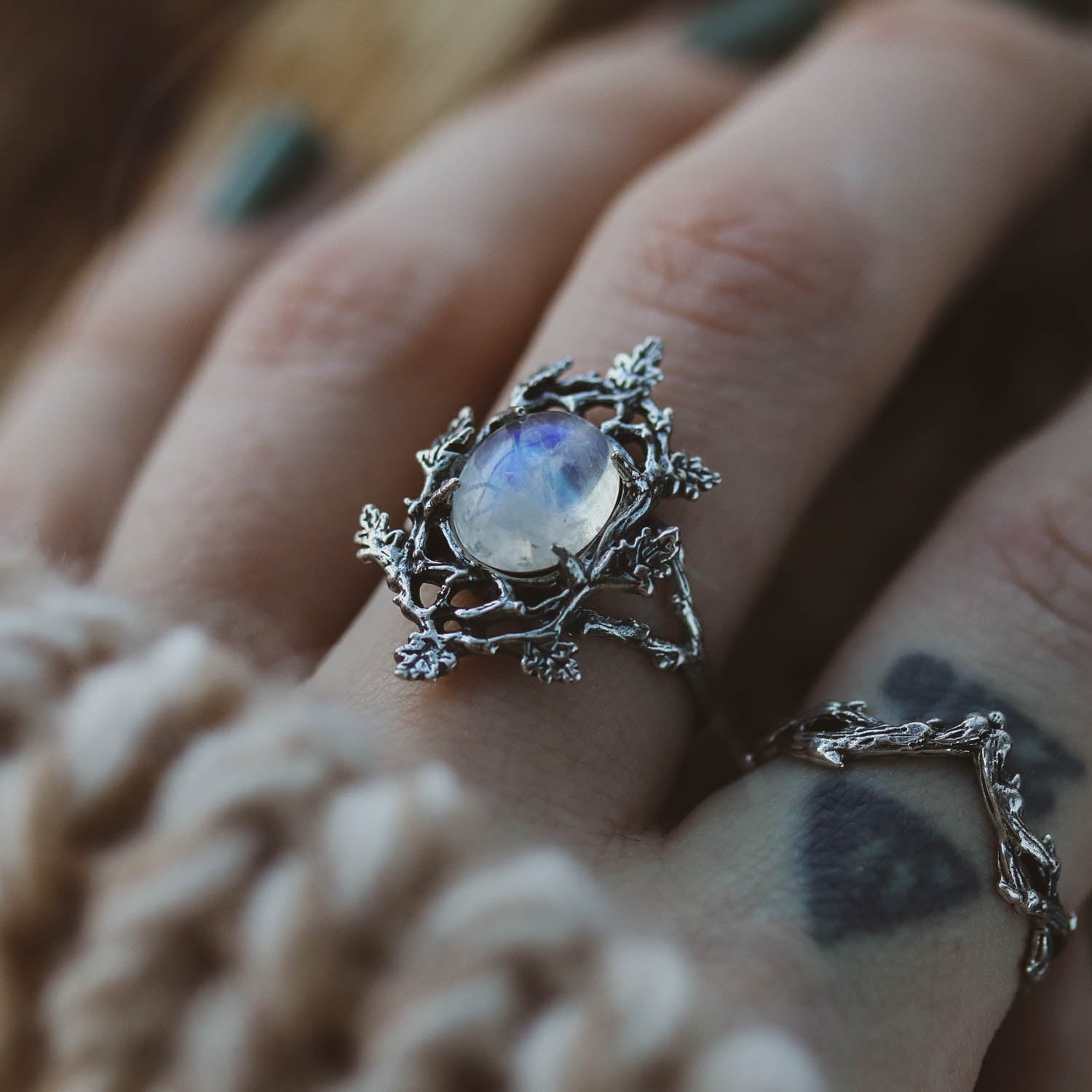 The Forest Moonlight Moonstone Boho Branch Ring