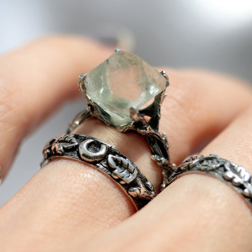Hysminai Fluorite Raw Crystal Gothic Branch Ring