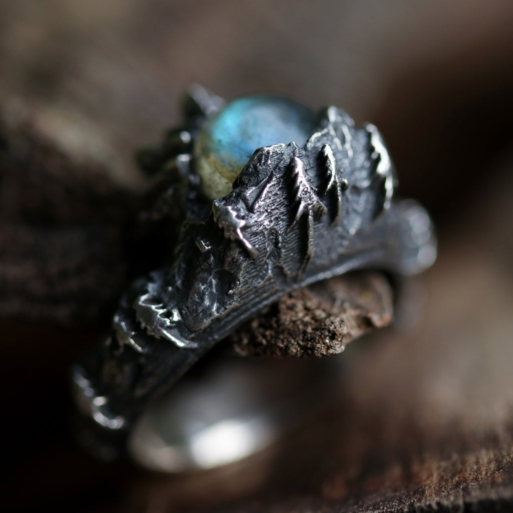 The Lair Labradorite Gothic Moon Ring