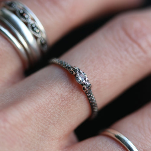 Cascabel Clear Snake Princess Sterling Silver Gothic Ring