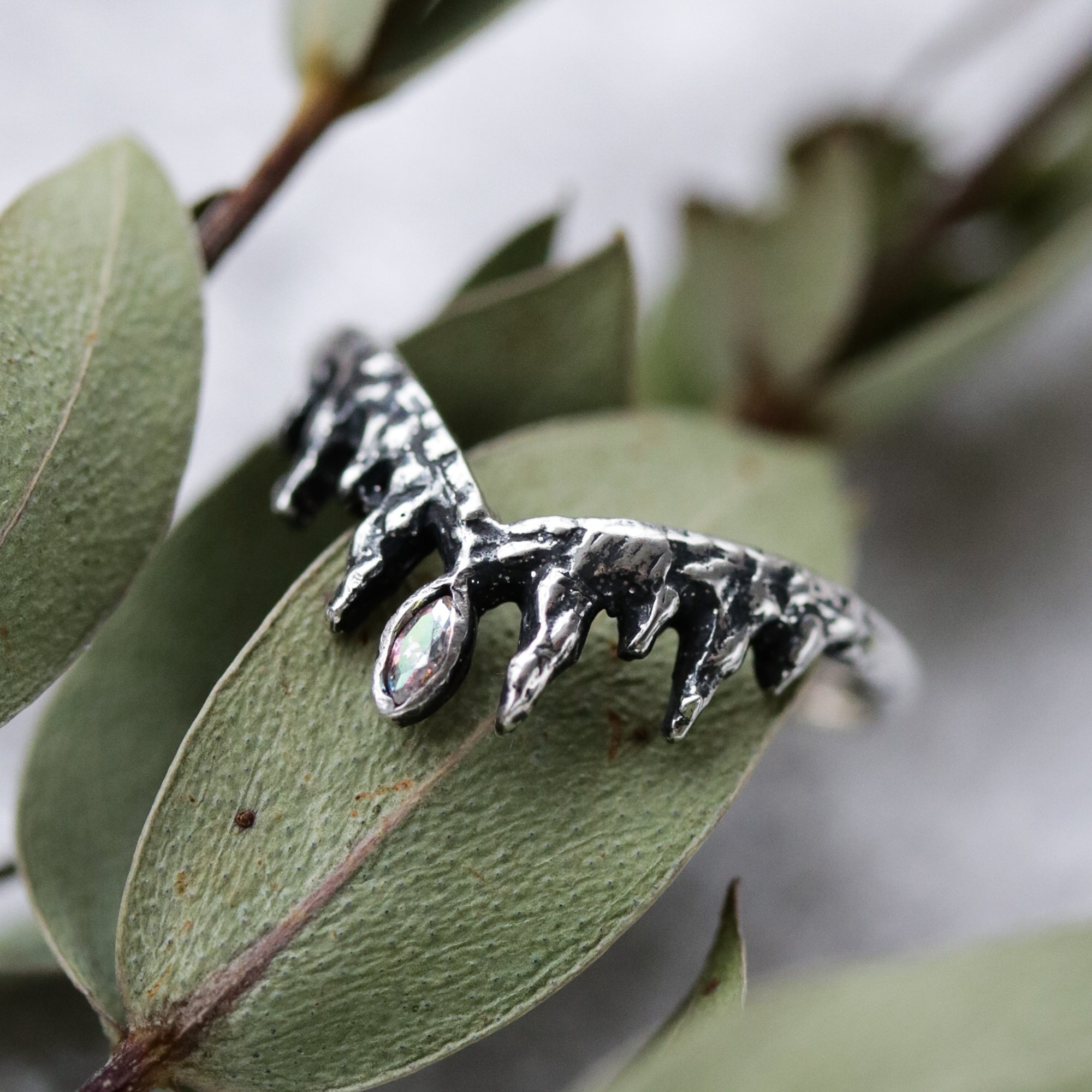 Before the Dawn Icicle Wishbone Sterling Silver Ring Mystic