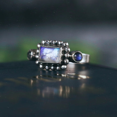 Trinity Magic Moonstone & Labradorite Gothic Ring