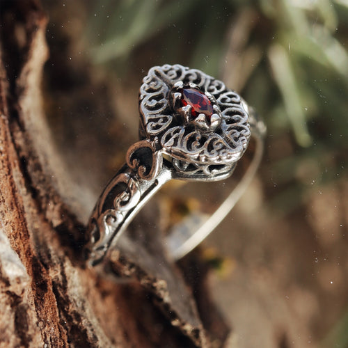 Raina Red Cubic Zirconia Sterling Silver Ring