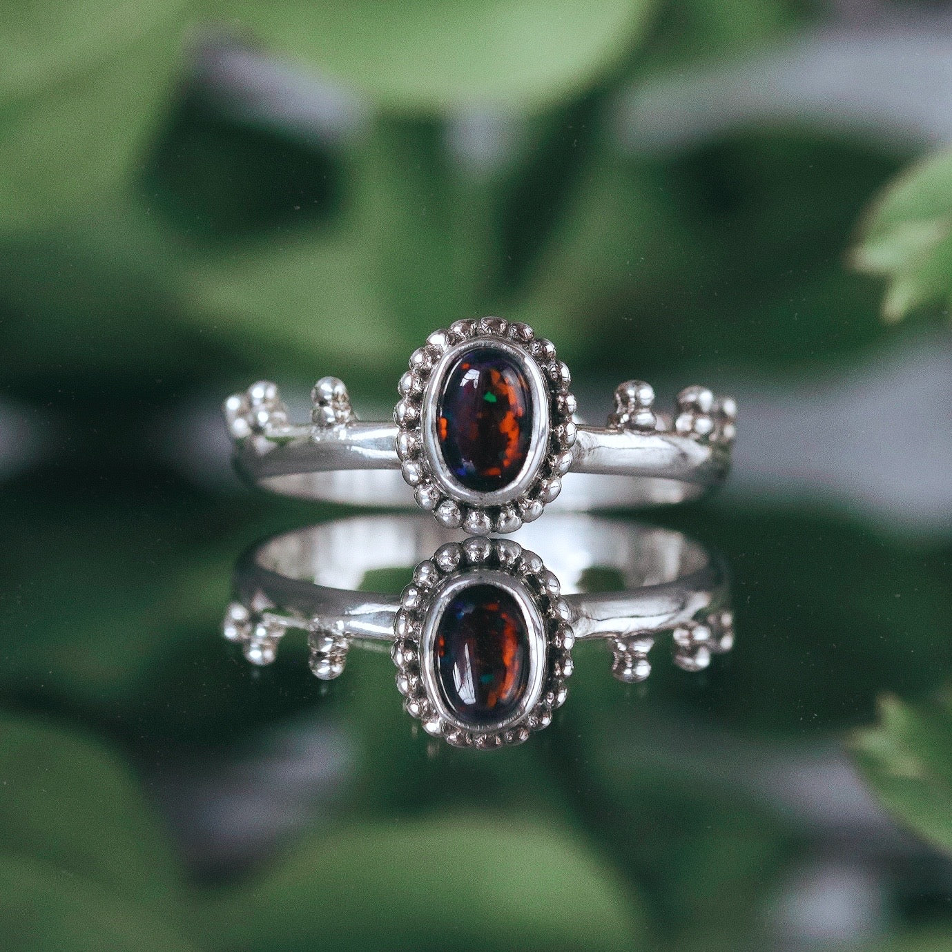 Epona Black Opal Sterling Silver Ring