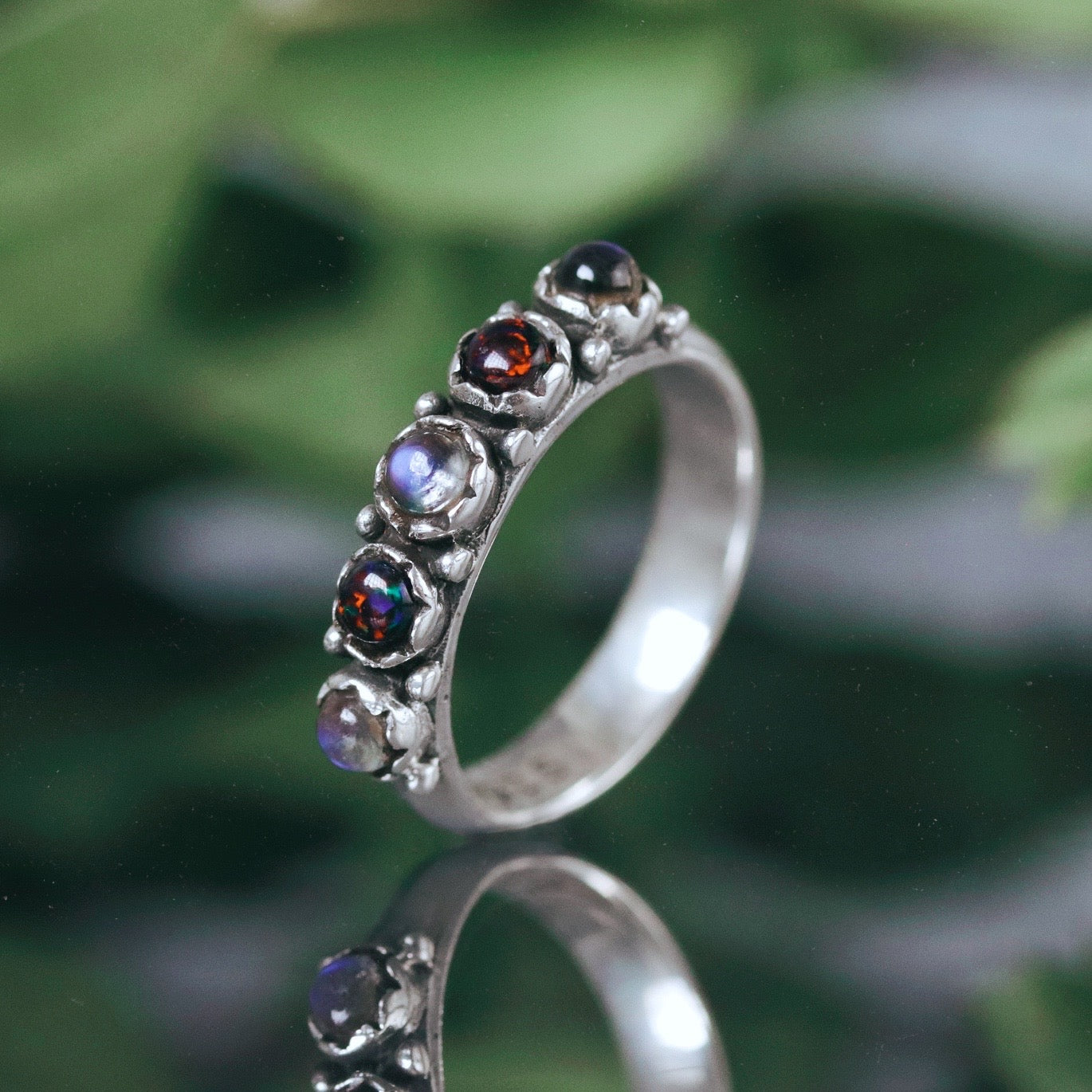 Spellbound Moonstone & Black Opal Gothic Ring