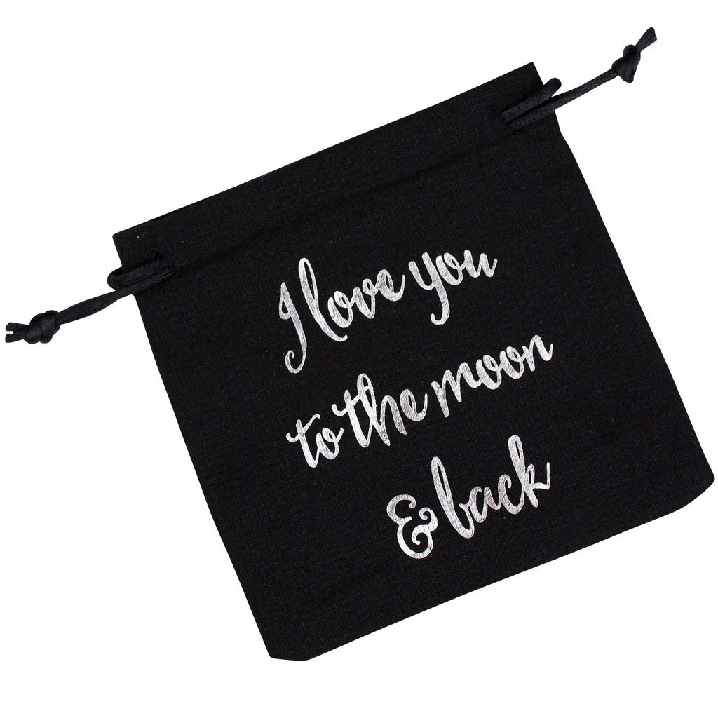I Love You To The Moon & Back Black Gift Pouch