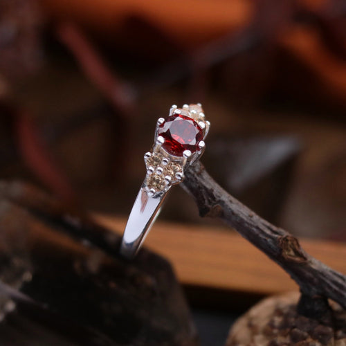 Brigantia Silver and Red Boho Cubic Zirconia Ring