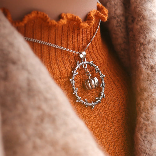 LAST CHANCE | Pumpkin Thorn Wreath Silver Necklace