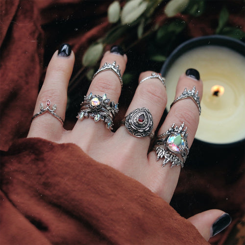 Witches Moonlight Crystal Thorn Ring