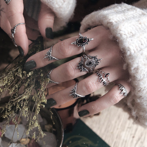 The Heroine Black Opal Gothic Crown Ring