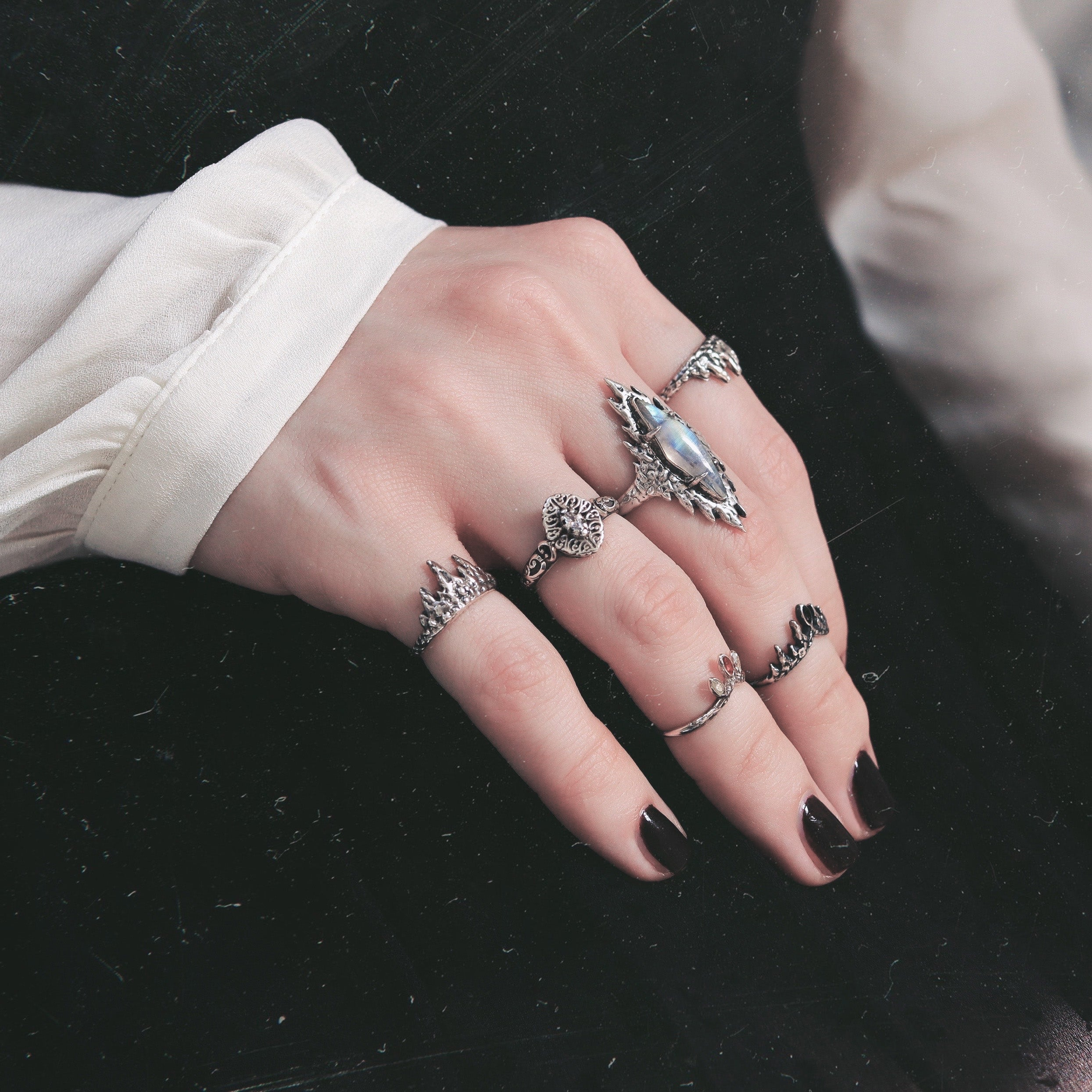 Lunae Lumen Moonstone Gothic Icicle Ring