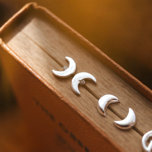 To The Moon Sterling Silver Ear Studs