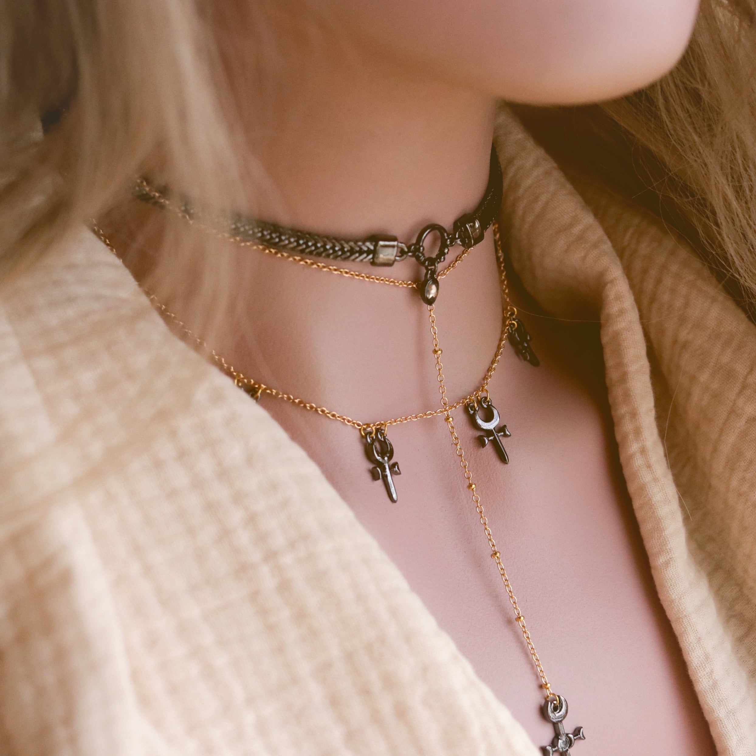Agrona Layered Lariat Choker Necklace *Colour Selection