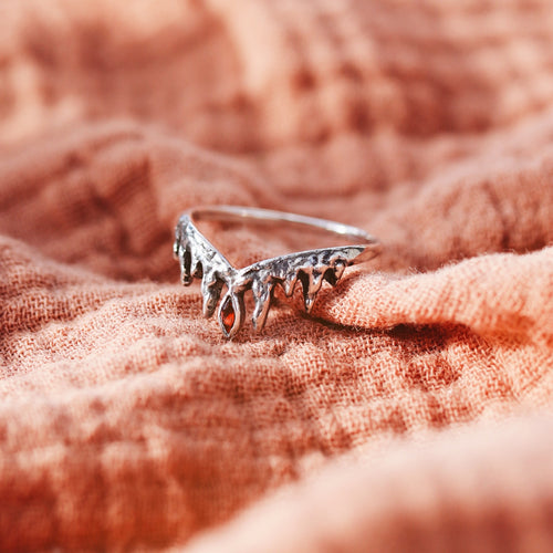Before The Dawn Icicle Wishbone Ring Royal Red