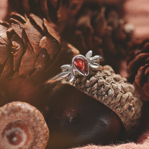 Little Oak Garnet Cubic Zirconia Boho Chic Ring