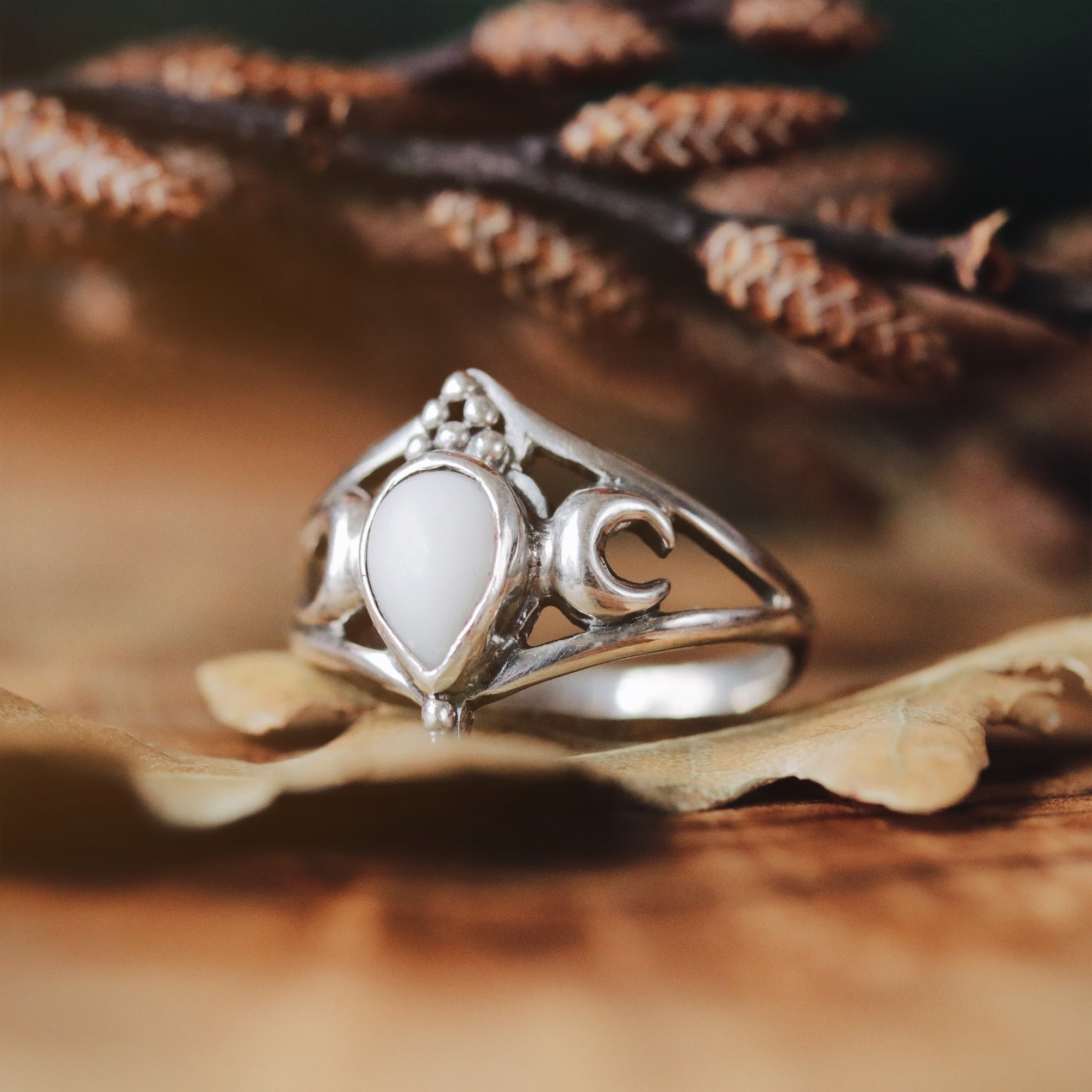 LOW IN STOCK - Sisters Of The Moon Boho Howlite Sterling Silver Ring