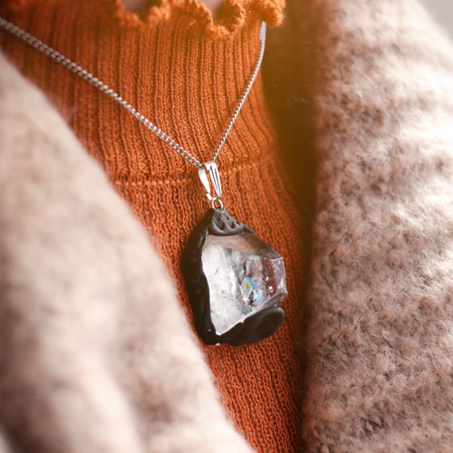 Elemental Spirit Apophyllite Crystal Point Necklace
