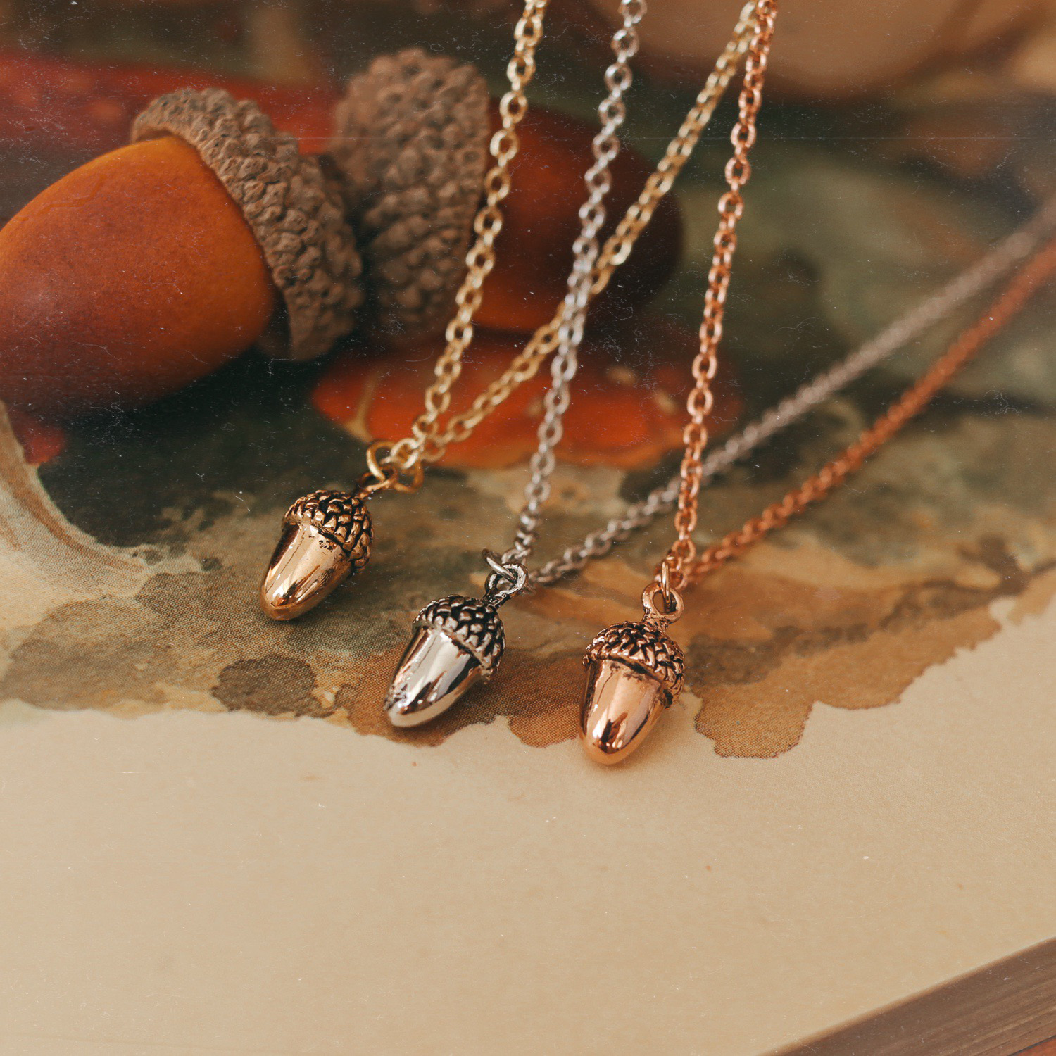 Autumn Woodlands Pumpkin / Acorn / Toadstool Necklace