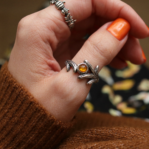 Queen Of The Woods Bohemian Antler Amber Ring | Talent Scout Winner