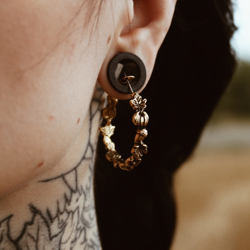 Limited | Autumn Pumpkin, Acorn & Leaf Wreath Hoop Earrings *Colour Select