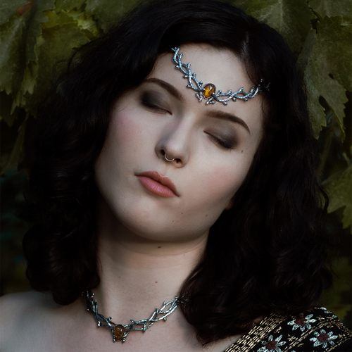 LAST CHANCE | Skadi Goddess Of Winter Thorn Head Crown Amber