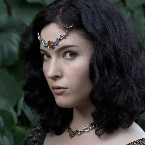 Skadi Goddess Of Winter Thorn Head Crown Amber